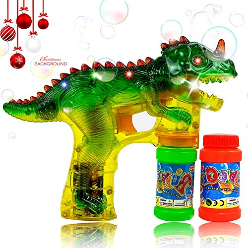 ZGWJ Dinosaur Bubble Shooter Gun Toy with LED Flashing Lights and Sounds,Dinosaur Bubble Toys with 2 Bubbles Solution Great for Kids Birthday Gift, Outdoors Activity,Bubble Blower