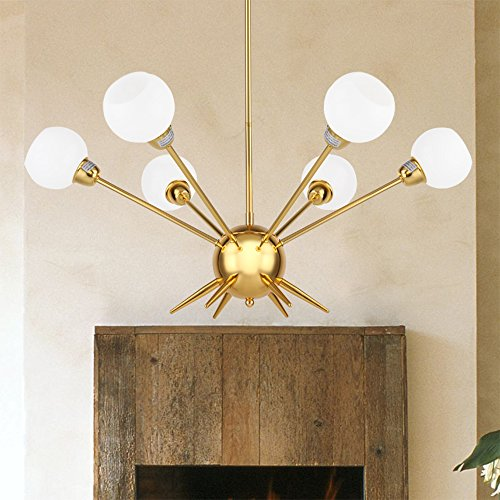 Cerdeco 6-Lights Pendant Light, Burnished Golden Plated, Ivory-white Glass Shade, UL Listed (Art Deco Glass Column)