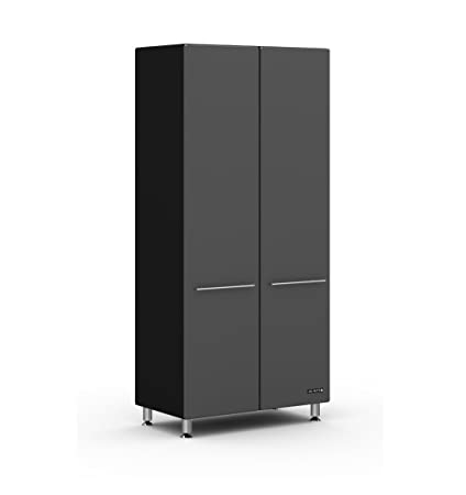 Graphite And Black Tall Two Door Storage Cabinet Graphite Gray Doors/Black  Cabinet