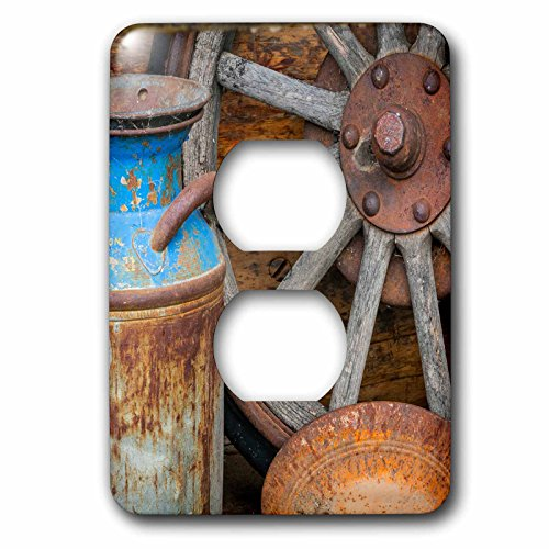 - 3dRose Danita Delimont - Western - USA, Alaska. Antique milk can, wagon wheel and gold pan. - Light Switch Covers - 2 plug outlet cover (lsp_278344_6)