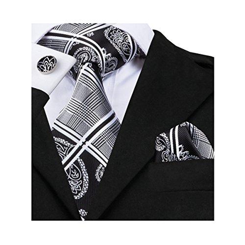 New Silk Mens Necktie Tie (Hi-Tie New Design Black Woven Silk Tie Handkerchief Cufflinks set)