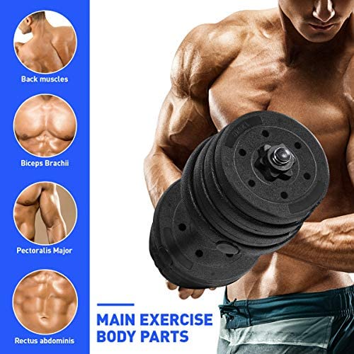 CLISPEED Dumbbells Set 66LBS Adjustable Dumbbell Weights with Handle for Men Women Gym Home Workouts