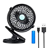 Mini Fan USB Rechargeable Clip On Desk Fan Battery Included Portable Cooling Fan Speed Adjustable Strong Wind for Baby Stroller, Office, Dorm, Home, Outdoor