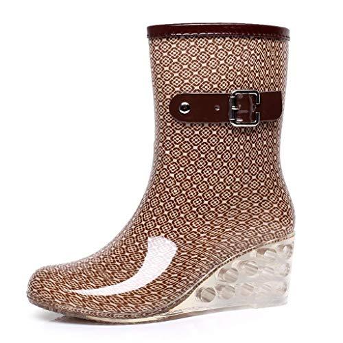 CapsA Women's Rain Boot Garden Boots Half Calf Rubber Rain Boots Waterproof Rain Footwear Punk Style Mid Snow Boots Women's Non-Slip Rain Boots Outdoor Wedge Water Shoes (CN:40, Khaki)