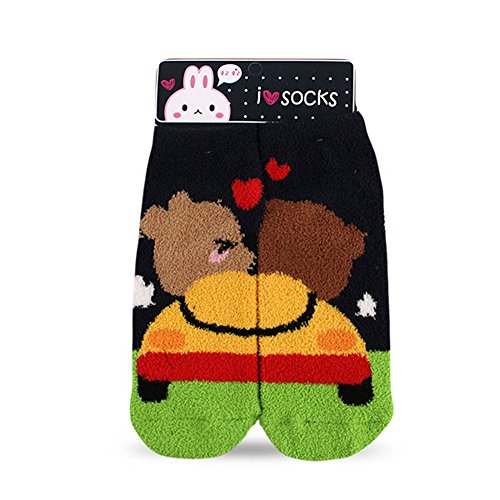 Women's Winter Soft Warm Bed Sleep Anklet Fuzzy Socks of Bear Series(Gray)