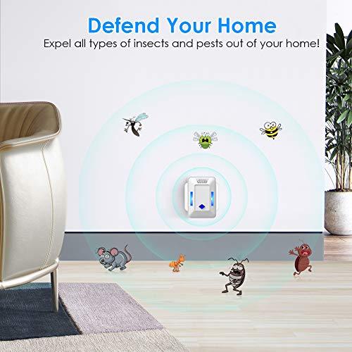 Flagicon Repelente Ultrasónico de Plagas, Repelente de Insectos Enchufar Interiores Control de Mosquitos Ratones Hormigas Cucarachas Moscas Arañas, 100% Inofensivo para Mascotas y Humanos (2 Piezas)
