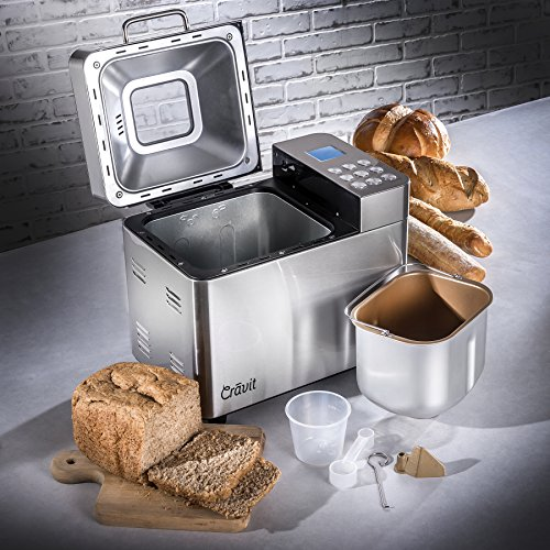Buy Discount ALL NEW Crãvit DV-1000-NIC Gluten-Free, Whole Wheat (Low Carb) Bread Machine with 15 O...