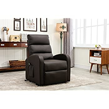 Divano Roma Furniture - Classic Plush Bonded Leather Power Lift Recliner Living Room Chair (Brown  sc 1 st  Amazon.com & Amazon.com: Divano Roma Furniture - Classic Plush Bonded Leather ... islam-shia.org