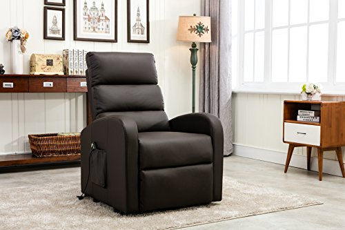 Divano Roma Furniture Classic Plush Bonded Leather Power Lift Recliner Living Room Chair (Brown) (Electric Recliner Leather)