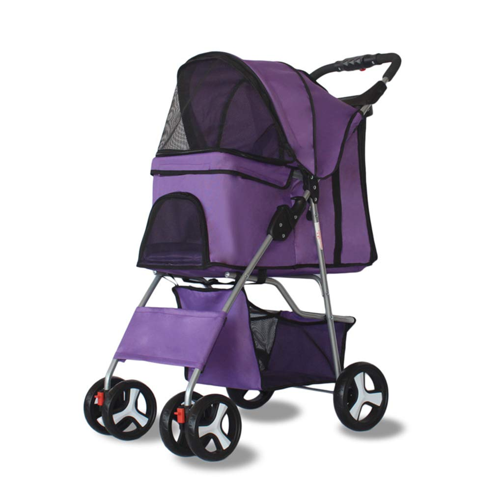 Purple Pet Stroller Four Wheels, Pet Roadster Easy Foldable with Handle Reversion Function, Dog Pushchair Stainless Frame for Dogs and Cats,Purple