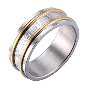 Mens Ring Wedding Band Infinity Style Greek Symbols ...