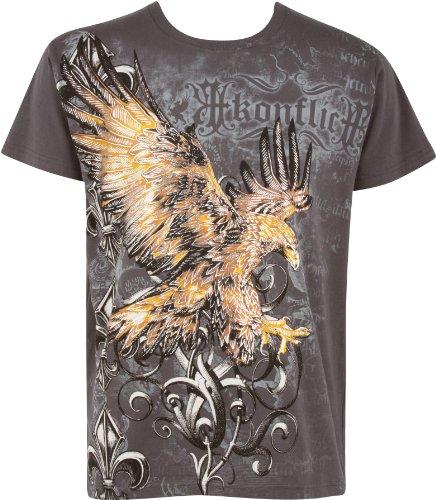 Sakkas Adler & Fleur De Lis T-Shirt aus Baumwolle, Metallic silbern eingefasster Ärmel - Holzkohle -L