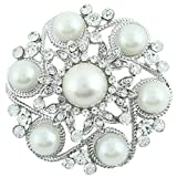 EVER FAITH Austrian Crystal Simulated Pearl Bridal Leaf Flower Brooch Clear Silver-Tone