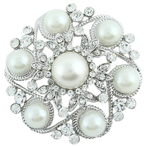 EVER FAITH Austrian Crystal Simulated Pearl Bridal Leaf Flower Brooch Clear Silver-Tone -