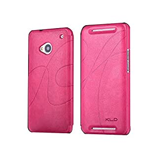 KALAIDENG PU fibra funda protectora de piel para HTC UNO NUEVO M7 (Color: Rojo cereza )