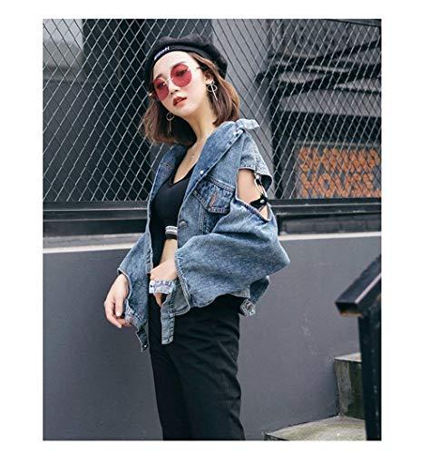 Manica Casuale Button Giaccone Puro Donna Corto Bavero Autunno Jeans Cappotto Slim Vintage Con Tasche Blau Colore Giacca Hipster Giacche Primaverile Outerwear Festa Elegante Style Fit Fashion Cavo Lunga awBaq