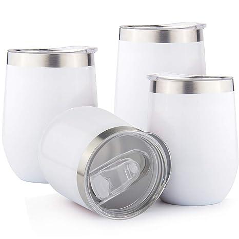 Sivaphe Vasos de Acero Inoxidable insulados Copas de Vino Tazas de café Doble Pared térmica Mugs para Viajes Camping Blanco (12OZ, 350ML) -Set de 4 ...