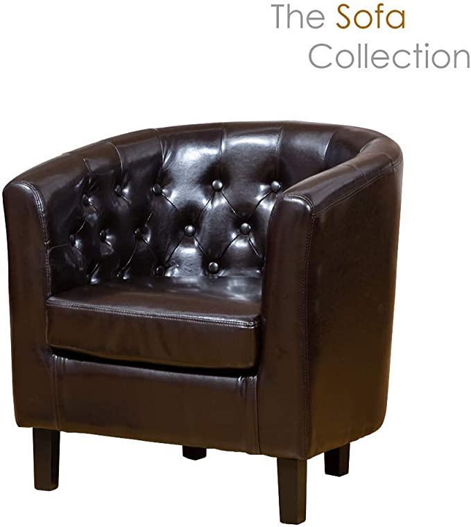 Sofa Collection Chesterfield Style Beauvais Tub Chair With Studded Back in Brown Bonded Leather, 70x76x73 cm