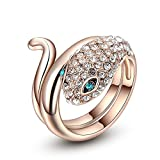 Winter.Z Noble and Elegant Ladies Jewelry Popular Explosion Models Austria Crystal Rose Gold Blue Eye Snake Ring Wedding