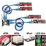 Ubit Multi-Interface PCI-E Riser with Led Notice Function Express Cable 1X to 16X Graphics Extension Ethereum ETH Mining Powered Riser Adapter Card+60cm USB 3.0 Cable+4 Port Transfer Adapter