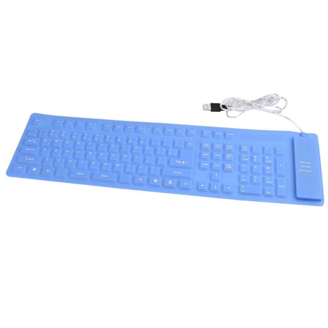 Teclado USB, ® USB Roll-up Flexible Silicona Teclado para PC portátil Moda largo párrafo silicona teclado: Amazon.es: Electrónica