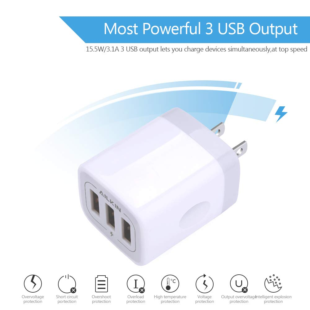 Usb Charger Cube Wall Plug Ailkin 31a 3 Muti The Circuit Adapter Charge Mobile Phones Phone Battery Port Power Charging Station Box Base Replacement For Iphone X 8 7
