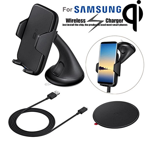 Nesee Qi Wireless Charger Charging Car Mount Holder for Samsung Galaxy Note 8 (Black)