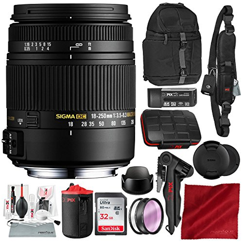 Sigma 18-250mm F3.5-6.3 DC Macro OS HSM for Nikon F-Mount DSLR Cameras with 32GB Card, Xpix Camera Cleaning Kit, and Deluxe Bundle