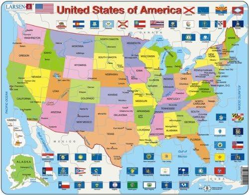Larsen Puzzle 48 piezas de mapa político de Estados Unidos: Amazon ...