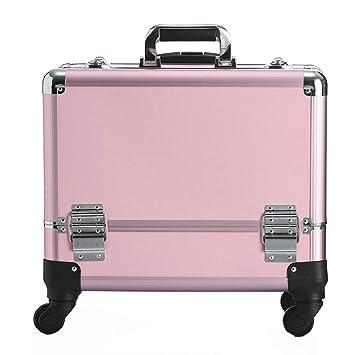 90388bc16 Amazon.com : Zzyq Beauty Trolley Box Travel Makeup Case, Trolley Case  Universal Wheel Suitcase, Pink : Beauty
