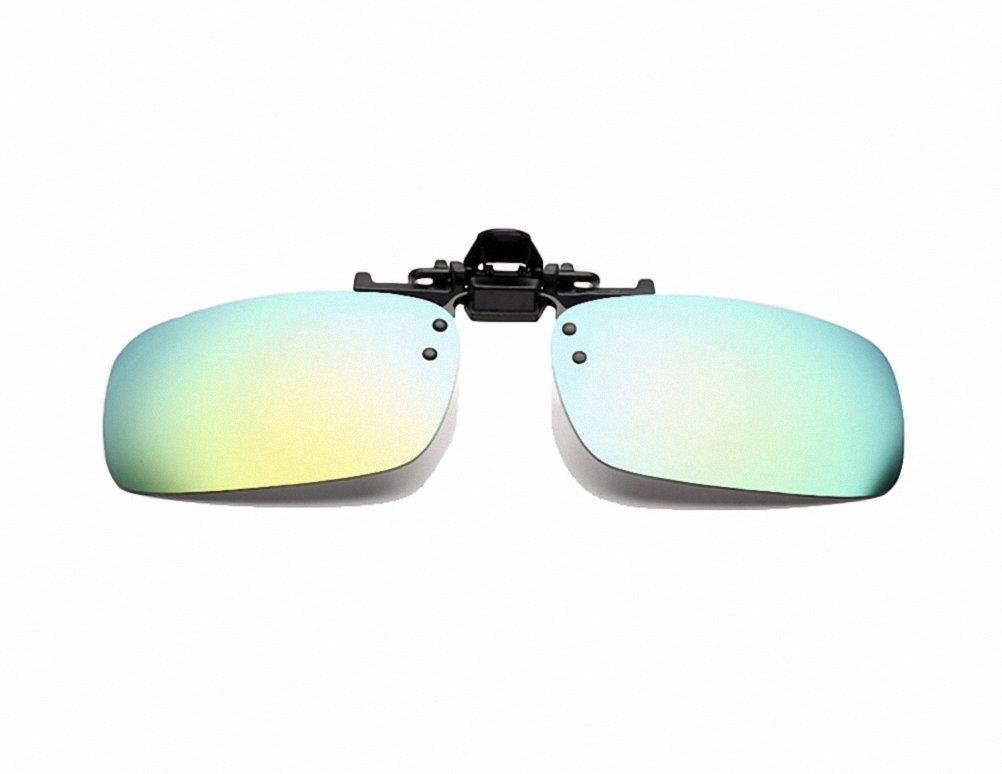 New Polarized Clip Flip up Sunglasses Lenses Glasses Driving Outdoor Sports Fishing Color Film Glsses for Men Women (black, Yellow-green)