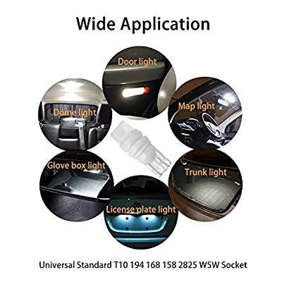 194 LED Bulb T10 168 2825 W5W 912 LED Bulbs 6500K White 12V 2835 Chipset Interior Car Lights Dome Map Courtesy Step Light Side Marker License Plate Lights Trunk Lamp,Pack of 12(White): Automotive