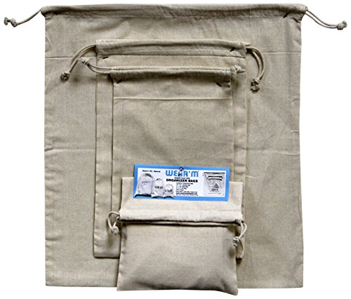Mark Richards Wear'm 153 3-Piece Organizer Drawstring Bags, Natural