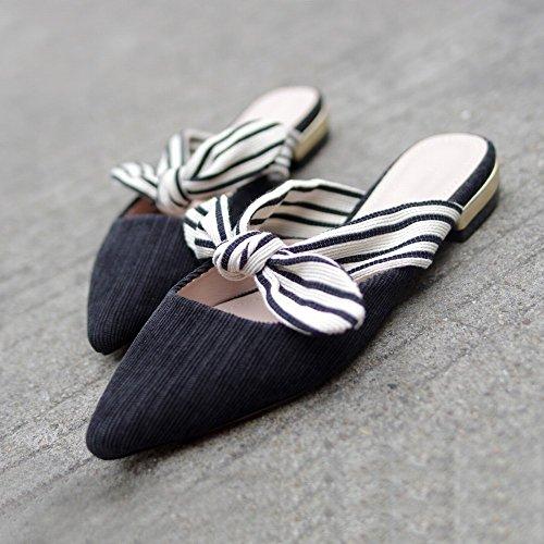 Baotou Zapatos de Perezosas Negro Zapatillas Mujer Sandalias 35 de Puntiagudas DIDIDD Proa Verano Fuera Zapatos de Hadas de Planos Ropa de 4vtW6cWgq
