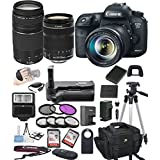 Canon EOS 7D Mark II Digital SLR Camera w/ EF-S 18-135mm STM + 75-300mm Zoom Lens Bundle includes Camera, Lenses, Filters, Bag, Memory Cards , Power Grip, Tripod ,and More - International Version