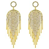Bridal Wedding Jewelry Gold Plate Clear Crystal Art Deco Tassel Drop Long Chandelier Dangle Earrings