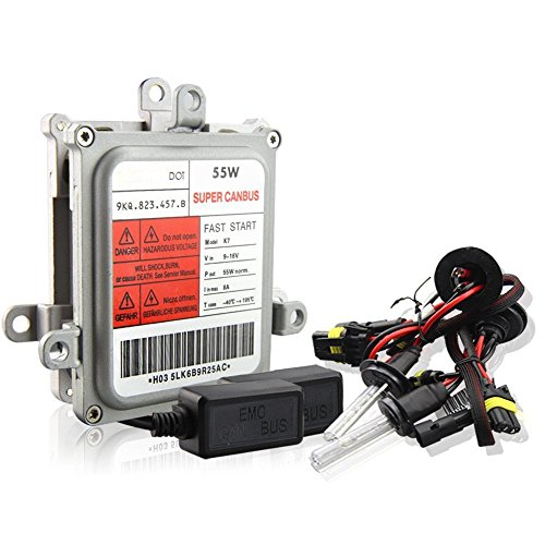 Aukee AC 55w H7 Super Canbus Ballast No Error HID Xenon Conversion Kit Car Headlight- 6000K Cold White (Kit Light 55w)
