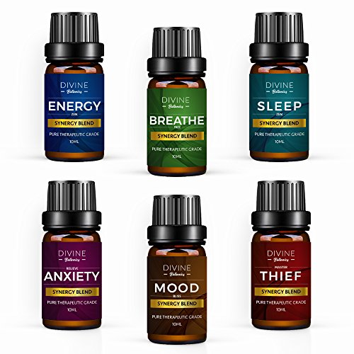 Aromatherapy Essential Oil Blend Set of top 6 Pure Therapeutic Grade Oils 10 ml Synergy Blends Include Breathe Sleep Anxiety Mood Energy and Thief Protection - Made in USA