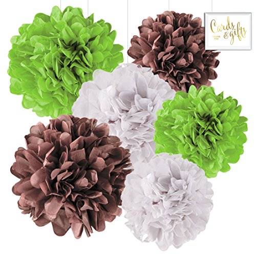 Andaz Press Hanging Tissue Paper Pom Poms Party Decor Trio Kit with Free Party Sign, Kiwi Green, Brown, White, 6-Pack, for Baby Bridal Shower Decorations -