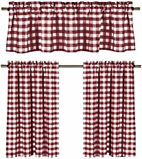3 Pc Plaid Country Chic Cotton Blend Kitchen Curtain Tier Valance Set Assorted Colors Wine Burdy