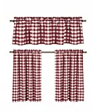 Country Curtains 3 Pc. Plaid Country Chic Cotton Blend Kitchen Curtain Tier & Valance Set - Assorted Colors (Wine/Burgundy)