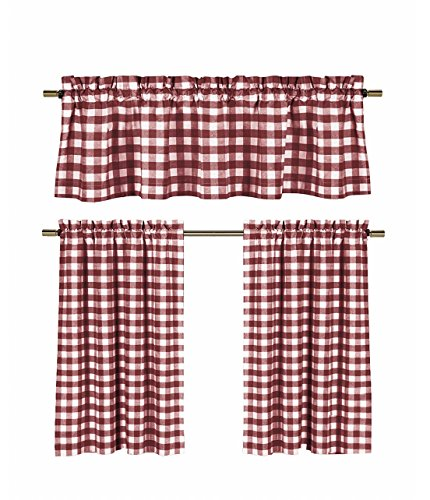 3 Pc. Plaid Country Chic Cotton Blend Kitchen Curtain Tier & Valance Set – Assorted Colors (Wine/Burgundy)