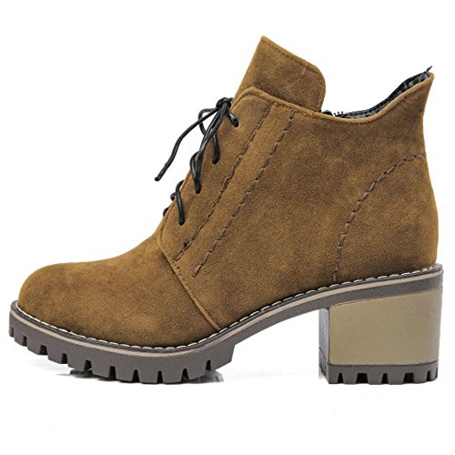 COOLCEPT Women Fashion Square Mid Heel Lace Up Ankle Martin Boots Brown 2CUmH7