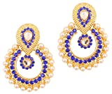 Touchstone Indian Bollywood Chandbali Moon Kundan polki Faux Pearls and Blue Sapphire Rhinestone Long Bridal Designer Jewelry Chandelier Earrings for Women in Gold Tone