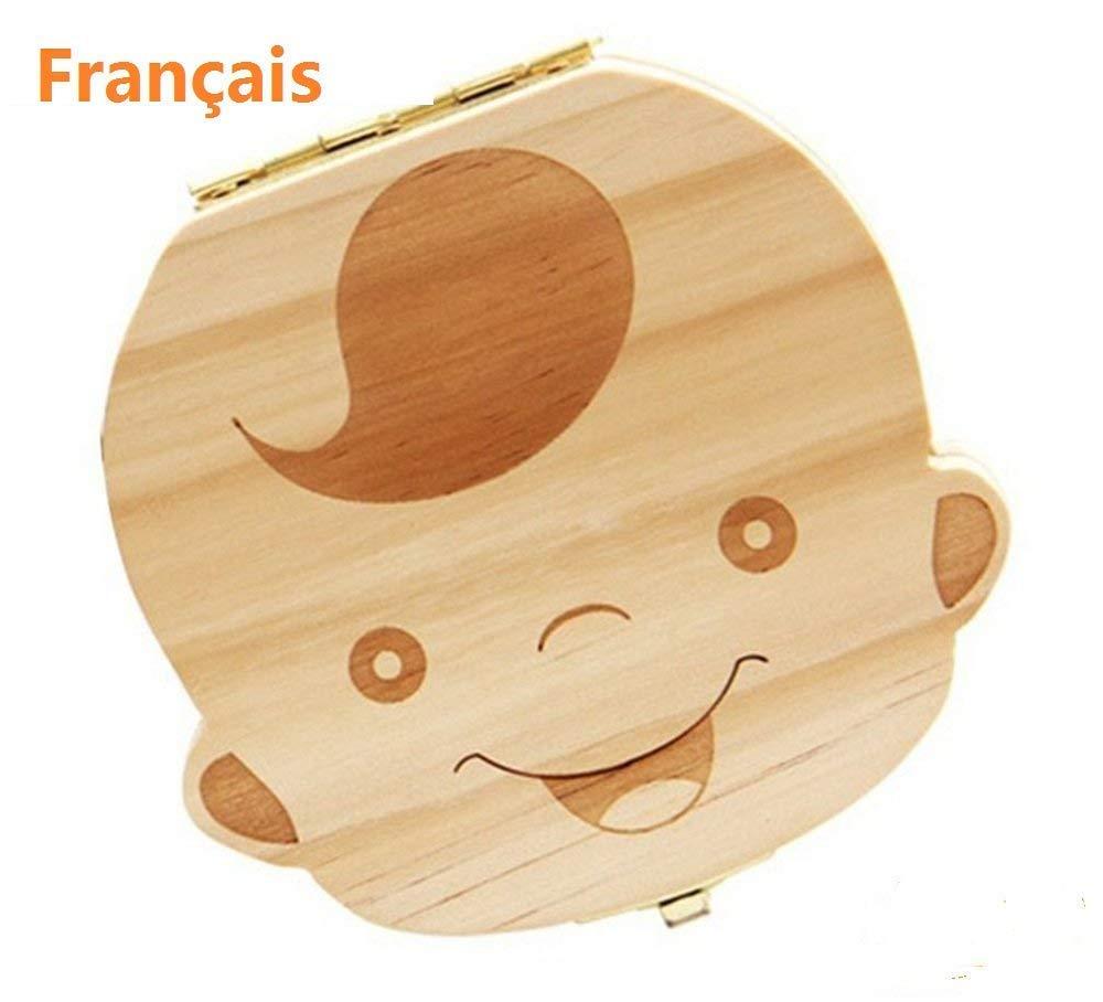 Baby Teeth Box, Wooden Teeth Save Box Souvenir Box Teeth Collection (French, Boy) Amlx English-Boy
