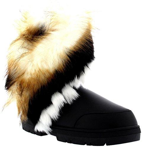 Womens Short Tassel Winter Cold Weather Snow Rain Boots Black Leather FoqwW