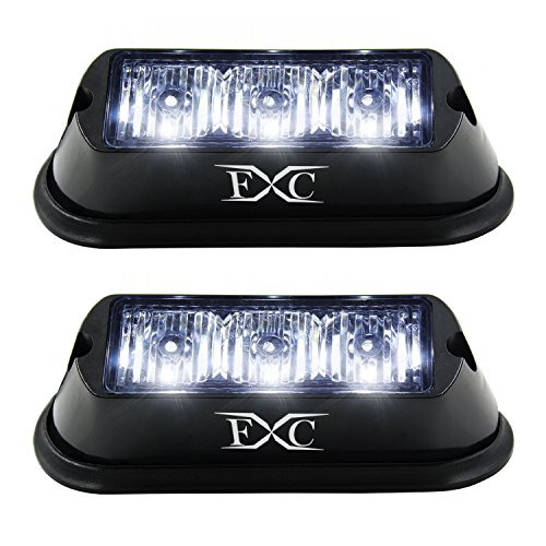 (2PCS) 3-LED Strobe Light White Waterproof Emergency Beacon Flash Lights,Purishion Caution Bar 12 Different Flashing Car SUV Pickup Truck Van