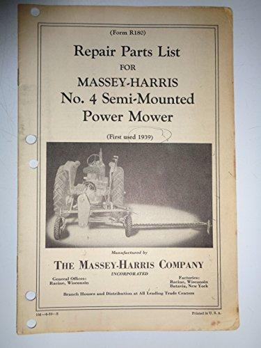 Massey Harris No. 4 Semi-Mounted Power Mower Parts Catalog Book Manual 6/39 (Mounted Mower Parts Catalog)