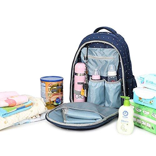 Abonnyc mochila el cambiar pañales Bebé Bolsa de Pañales multifuncional mochila de viaje bolso de mano Gran Capacidad Bolsa de aislamiento azul Blue Dot Blue Dot