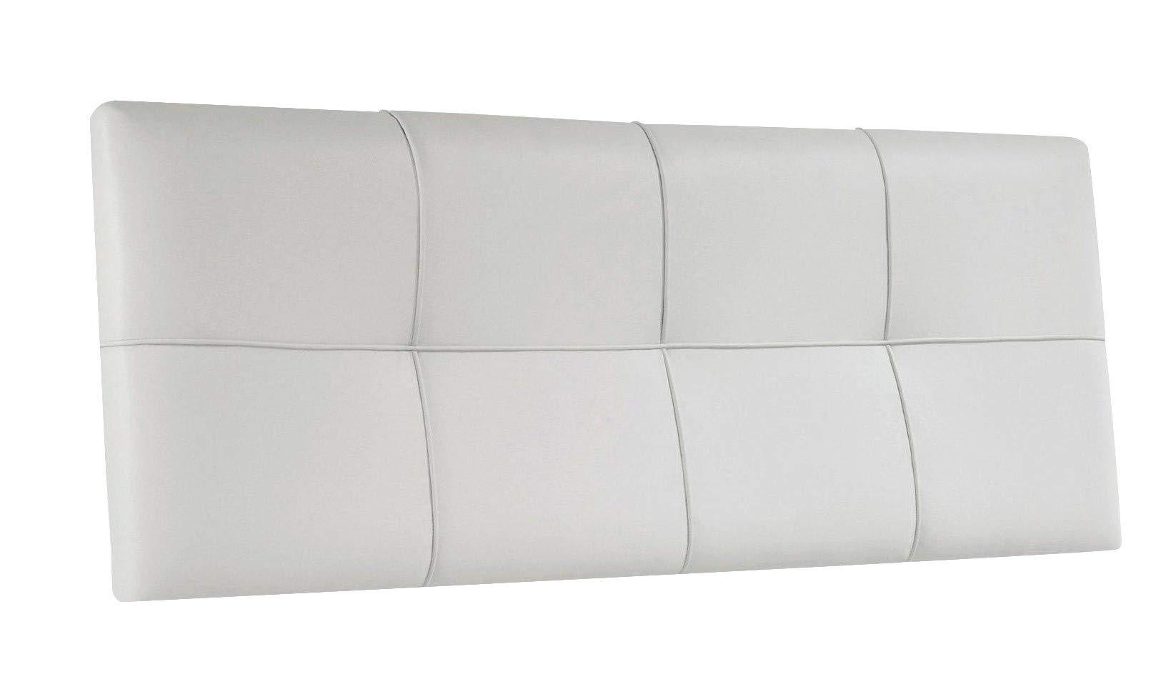 SUENOSZZZ - Cabecero Tapizado Squa Piel Sintetica 145 x 57 cm, Color Blanco. Camas